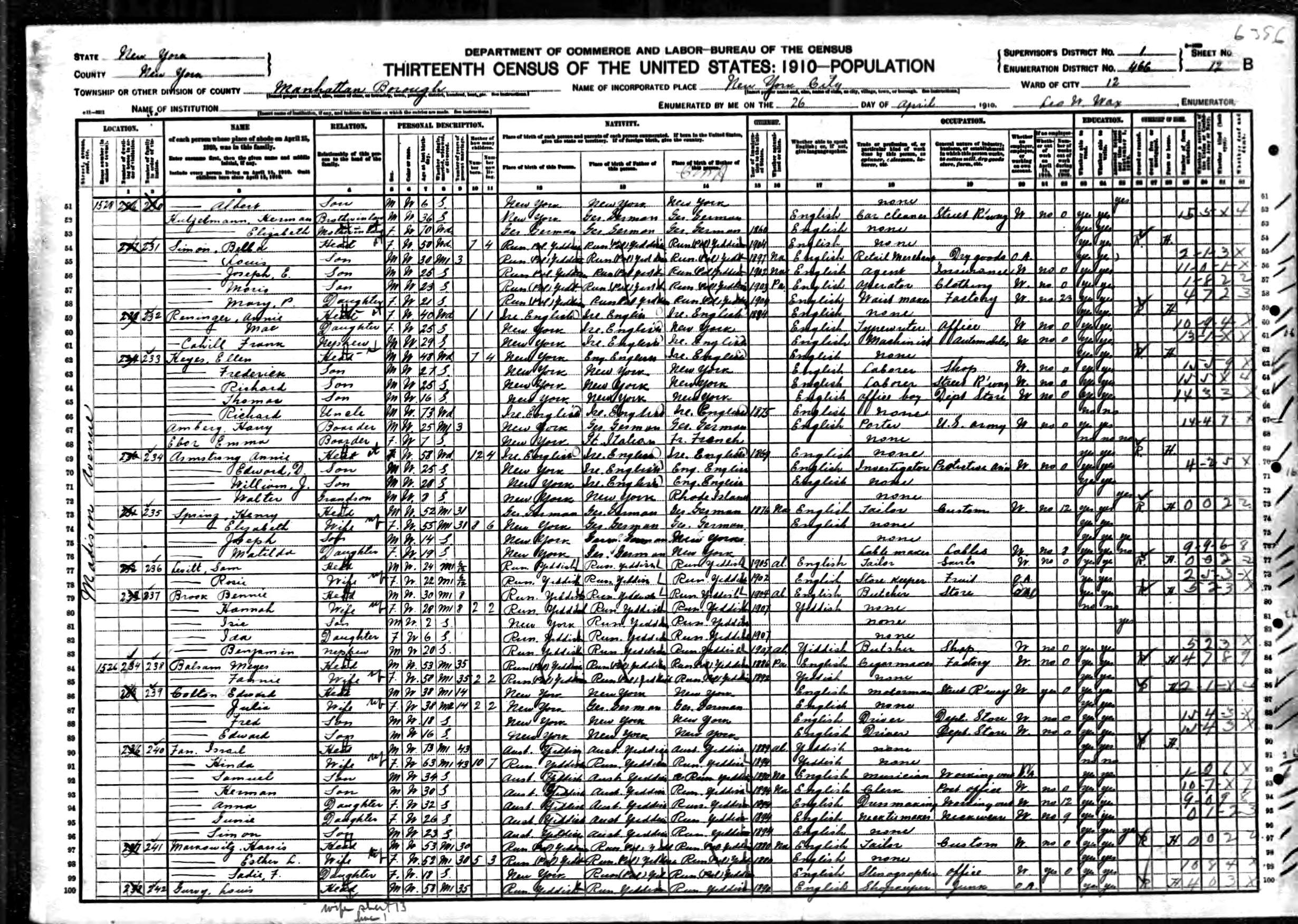 Sources Hair Clipper Nova Nhc 5201 Sj0048 1910 Us Census Henry Sprinz New York Manhattan 26 Apr Http Contentancestrycom Browse Print Uaspxdbiidnyt624 1019 0870